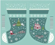 Lewis & Irene - Christmas Glow - 6713 -  Scenic Stocking Panel, Teal & Aqua - C51.2 - Cotton Fabric